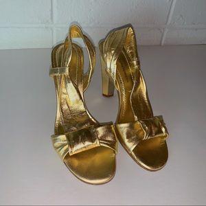 DVF gold heels